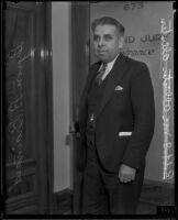 Byron Brainard, City Council member, at the Grand Jury entrance, Los Angeles, 1935