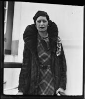 Countess of Carlisle upon her arrival on the SS President Coolidge, Los Angeles, 1934