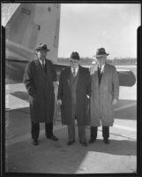 John M. Carmody, William Morris Leiserson, and James W. Carmalt arrive in Glendale, 1934
