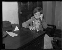 Seven-year-old Virginia Carter testifies against her mother, Los Angeles, 1935