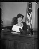 Veora Daniel Casady sits on the witness stand, Los Angeles, 1932