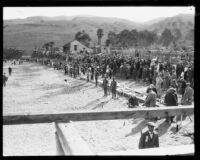 Swimmers on the shore before the start of the Wrigley Ocean Marathon at Isthmus Cove, Santa Catalina Island, 1927