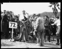 Norman Ross and Bert Rovere at the start of the Wrigley Ocean Marathon at Isthmus Cove, Santa Catalina Island, 1927