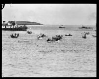 Boats and swimmers in Isthmus Cove at the start of the Wrigley Ocean Marathon, Santa Catalina Island, 1927