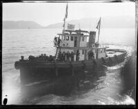 Tug boat carrying Associated Press members during the Wrigley Ocean Marathon, Santa Catalina Island, 1927