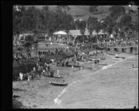 Shore of Isthmus Cove on the day of the Wrigley Ocean Marathon, Santa Catalina Island, 1927