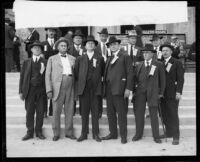 Convening of California mayors Arthur Cathcart, H. Hawley, Dana P. Eicke, George J. Ulrich, Horace Porter, Haven A. Mason, C.L. Burnett, J.P. Greeley, Abraham Sauer, Casey Abbott, and E.L. Hougham, Santa Monica, 1921