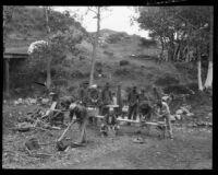 Prisoners washing at a labor camp in the Malibu canyons, Malibu, 1921