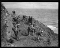 Prisoners conducting roadwork along Malibu Canyon, Malibu, 1921