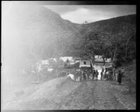 Prisoners at open-air labor camp in the canyons, Malibu, 1921
