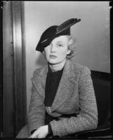 Viriginia Cherrill appears in court for alimony plea, Los Angeles, 1934