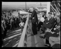 Chrysler engineer Charles H. Fennel addresses the crowd at groundbreaking for new plant, Los Angeles, 1932