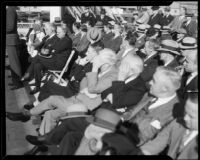 Officials at groundbreaking for Chrysler Motors plant, Los Angeles, 1932