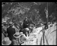 Luncheon atop Big Tujunga Dam, Angeles National Forest, 1931