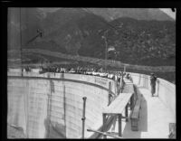 Wide view of luncheon on top of new Big Tujunga Dam in Angeles National Forest, 1931
