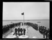 Beginning of Admiral Jehu V. Chase's transfer of command ceremony, Los Angeles Harbor, 1931