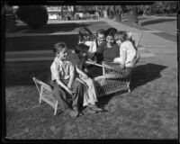 Virginia Rios taking care of the youngest Cheap children: Vincent, George, Dorothy, John, and Teresa, Los Angeles, 1933