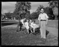 George, Teresa, John, Dorothy, and Vincent Cheap at play, Los Angeles, 1933