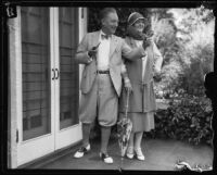Howard Chandler Christy and his wife Nancy Palmer visit California, Beverly Hills, 1925