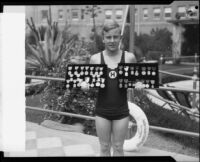 Austin Clapp, Olympic medalist, at the Ambassador Hotel Plunge event, Los Angeles, 1928