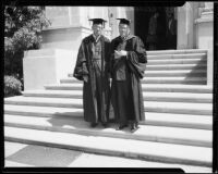 Dr. Robert G. Cleland and Dr. Remsen D. Bird at Occidental College commencement, Eagle Rock, 1935