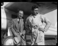 Captain C.B.D. Collyer and Harry Tucker with their monoplane Yankee Doodle, Los Angeles, 1928