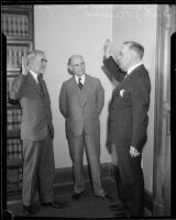 Judges N. P. Conrey and Albert Lee Stephens swear in Walter J. Desmond, Los Angeles, 1934