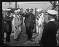 Admiral Spencer S. Wood and staff board the Baltimore, San Pedro, 1920