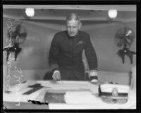 Admiral Spencer S. Wood makes a defense plan aboard the Baltimore, San Pedro, 1920