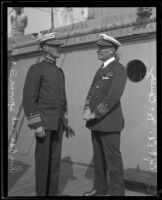 Admiral Spencer S. Wood and Captain Ed McCouley aboard the Baltimore, San Pedro, 1920