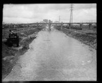 Los Angeles River following a flood, Los Angeles, 1933