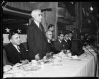 Joseph Scott, George L. Eastman, Eddie Cantor, and R. G. Swaffield at luncheon, Los Angeles, 1932