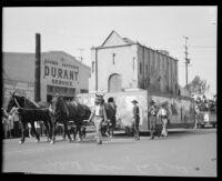 San Gabriel Mission depicted on a float at La Fiesta de Los Angeles parade, Los Angeles, 1931