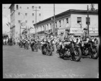 Motorcycle police officers at La Fiesta de Los Angeles, Los Angeles, 1931