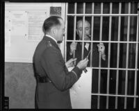 "Captain Clem Peoples with a ""jailed"" George Rochester, Los Angeles County, 1932-1935"