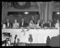 Mayor Frank Shaw and others at a banquet, Los Angeles, 1933-1938