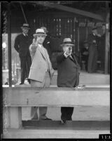 Mayor Frank L. Shaw and Fire Chief R. J. Scott at shooting range, Los Angeles, ca. 1930s