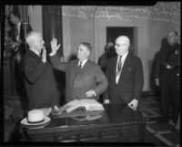 City Clerk Robert Dominguez, Mayor Frank Shaw, and Council President Charles H. Randall, Los Angeles, 1933