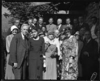 John S. McGroarty in a group portrait at his home, Tujunga, 1920-1940