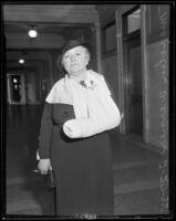 Helen W. Werner breaks wrist on same day as her court testimony, Los Angeles, 1935