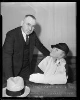 John M. McCollum with an injured Helen W. Werner, Los Angeles, 1937