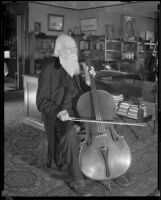 Dr. Joseph Widney celebrates his 90th birthday with a cello, Los Angeles, 1931
