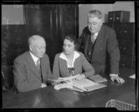 U. S. Atty. Sam McNabb, U. S. Asst. Atty.-Gen. Mabel Walker Willebrandt, and U. S. Marshal Albert Sittel appeal to the Board of Supervisors, Los Angeles, 1926