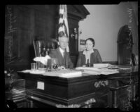Judge Harry Hollzer shares the bench with Mabel Walker Willebrandt, Los Angeles, 1926