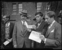 William Wrigley Jr. and George Young, the winner of the Wrigley Ocean Marathon, Los Angeles, 1927