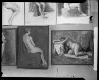 Paintings and drawings of nudes in the Otis Art Institute student exhibition, Los Angeles, 1921