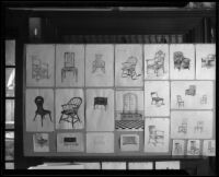 Furniture drawings in an Otis Art Institute student exhibition, Los Angeles, [1918-1939]