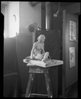 Sculpture of a seated female nude by an Otis Art Institute student, Los Angeles, 1918-1939
