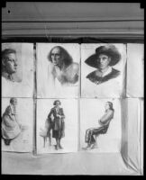 Drawings in an Otis Art Institute student exhibition, Los Angeles, 1921