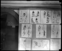 Drawings by cartoonist Robert Day in the Otis Art Institute end-of-year student exhibition, Los Angeles, 1921